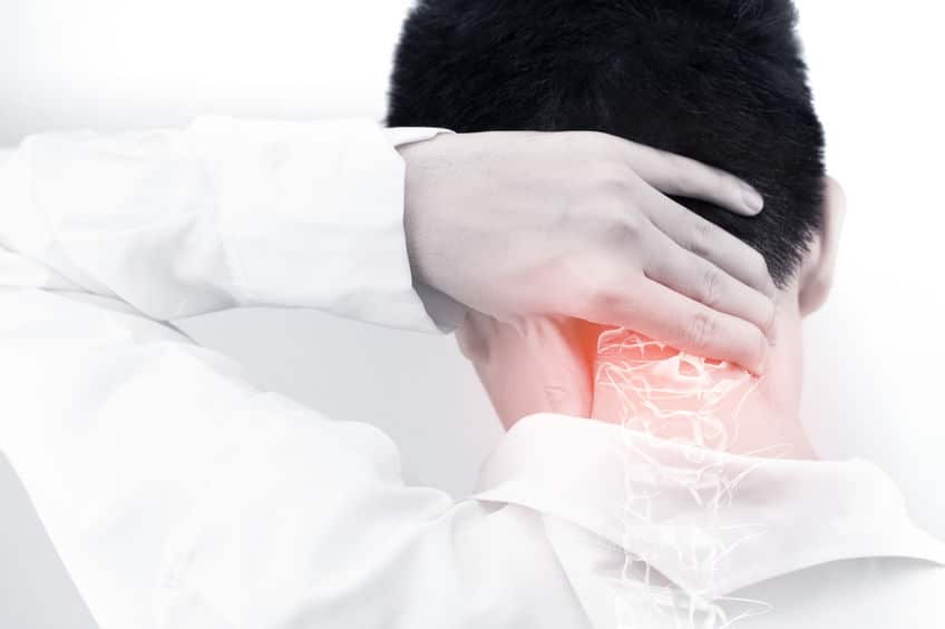 Neck pain due to body injury.